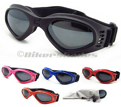 Kids Motorcycle goggles smoke polycarbonate lens black pink red orange frame
