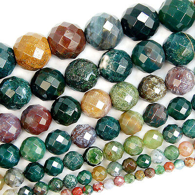 """Natural Faceted Indian Agate Gemstone Round Beads 15.5"""" 4mm 6mm 8mm 10mm 12mm"""