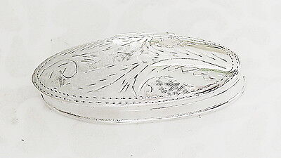 VINTAGE ENGRAVING SILVER STERLING 925 TOBACCO PILL BOX HAND CRAFTED