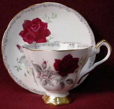 ROYAL STAFFORD china ROSES TO REMEMBER scalloped CUP & SAUCER Set Footed