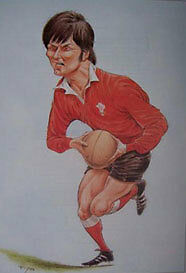 BARRY JOHN, WALES RUGBY PRINT by JOHN IRELAND