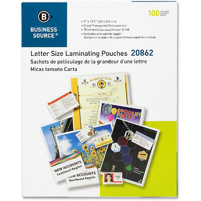 """300 Letter Laminating Pouches 9"""" x 11.5"""" Laminator 5 Mil Business Source 20862"""