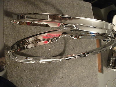 """Pair (2) Brand New 16"""" Chrome Drum Hoops. 8 Hole Rims for Batter Heads. 2.0mm"""