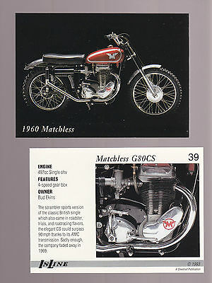1960 MATCHLESS G80CS 500cc Single ohv 1993 Inline Classic Motorcycle CARD # 39