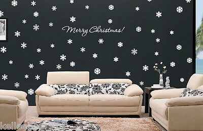 72 Snowflakes & Merry Christmas! wall window art vinyl decal sticker Holiday