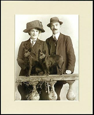 Schipperke Lady And Gentleman And Their Dogs Dog Print Mounted Ready To Frame