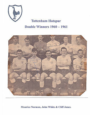 Tottenham Hotspur 1960-1961 D Winners Rare Orig Hand Signed Group Inc John White