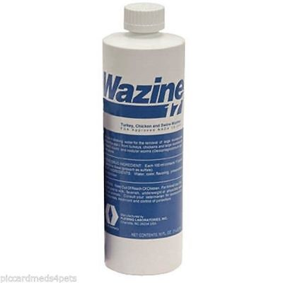 WAZINE 17% Piperazine for the removal of worms in Turkeys and Chickens 16OZ 1PT
