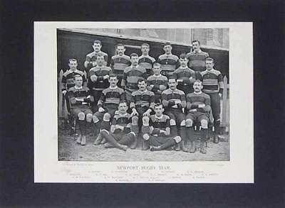 Newport Team Original Antique Rugby Print 1896 Famous Footballers