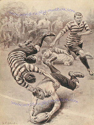 "RUGBY PRINT A TRY BY S.T. DADD 18"" x 12"" (45 cm x 30 cm) PLAYER SCORING A TRY"