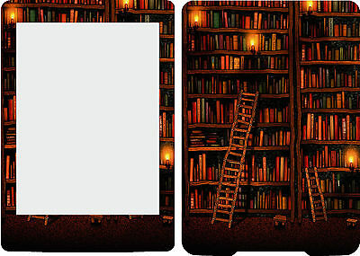 2013 Kindle Paperwhite Skin Cover Vinyl Sticker Bookshelves Library KP11