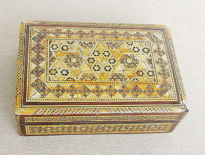 Judaica Antique Mother Of Pearl Yellow Mat. Inlay Magen David Wooden Jewelry Box