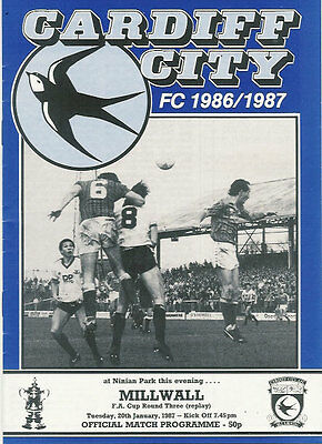Cardiff City v Millwall 20 Jan 1987 FA Cup Football Programme