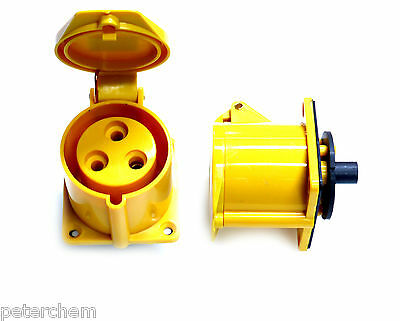 2x 32 amp 110V 3 pin yellow panel mount socket outlet power tools transformer