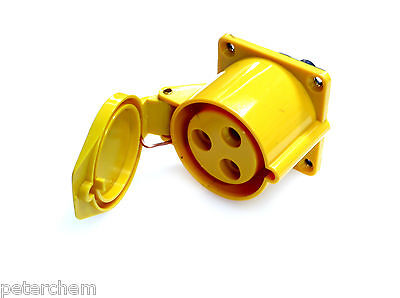 32 amp 110V panel mount socket 3 pin 2P+E transformer power tool 32A yellow 130V