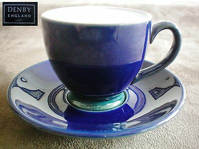 Denby Regatta Demi Tasse Cappuccino Coffee Cup & Saucer Excellent Condition