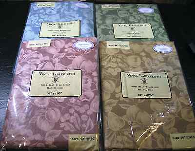Flannel-Backed Vinyl Tablecloth By Sultan's Linens  Asstd Sizes & Colors - New