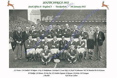 "SOUTH AFRICA 1952 (v England) 12"" x 8"" RUGBY TEAM PHOTO PLAYERS NAMED"