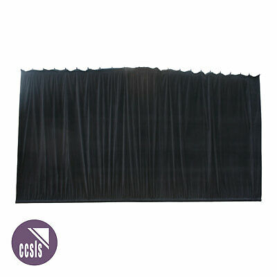 Bravo 6M X 3M Black Cotton Velvet Stage Curtain - Gathered _ 63A
