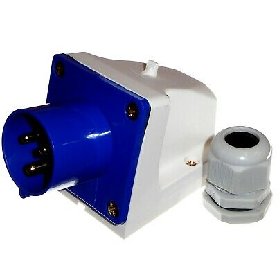 16 Amp Appliance Socket Plug Inlet 3 Pin 240V 2P+E Blue 16A IP44 Caravan Camper