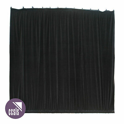 Bravo 6M X 6M Black Cotton Velvet Stage Curtain - Gathered _ 66A