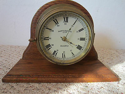 "Nautical, Brass & Wood, ""Quartz"" Mantle Clock"