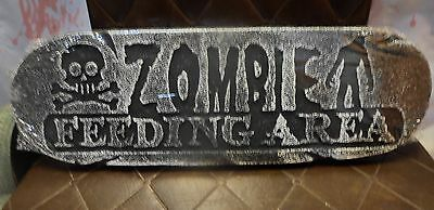 Halloween Prop Decoration - Zombie Feeding Area Sign - Spooky, Scary, Creepy