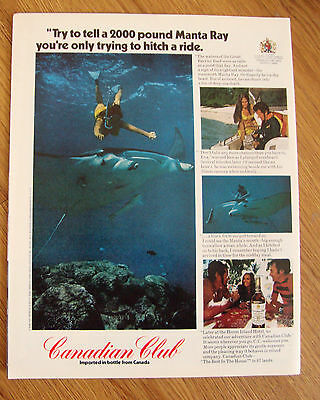 1972 Canadian Club Whiskey Ad 2000 Pound Manta Ray Great Barrier Reef