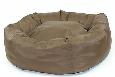 """WATERPROOF DONUT BED. Dog Beds, Heavy Duty Brown Pet Bed, S M L Extra Large 38"""""""