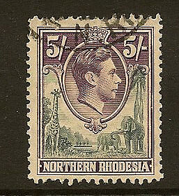 NORTHERN RHODESIA : 1938 5/- grey and dull violet  SG 43 used