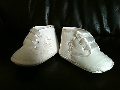 New Baby Boy Christening Baptism Pram Shoes Boot Booties White/Ivory  0-12Month