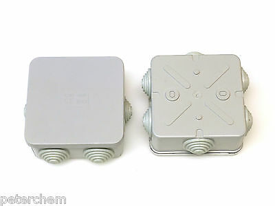 2x Square 80mm x 80mm x 40mm weatherproof junction box + grommets connection box