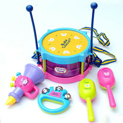 New 5PC Drum Musical Instruments Band Kit Kids Toy Gift Set