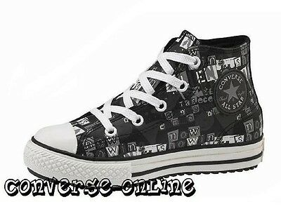 KIDS Boys Girls CONVERSE All Star BLACK LEATHER HI TOP Trainers Boots SIZE UK 11