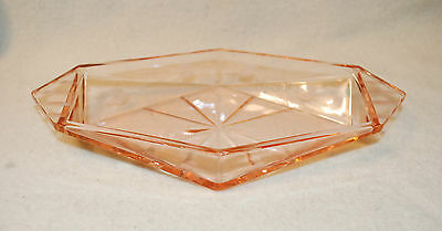 PINK DEPRESSION ART DECO ERA GLASS RELISH DISH ROLL ETCHED LEAVES 1920's OCTAGON