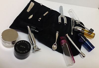 SNUFF KIT POUCH FULL KIT ACCESSORIES SNUFF VACUUM TWO HOSE SNUFF BOTTLE SPOON