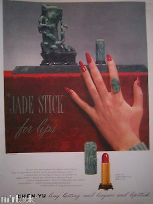 1946 Chen Yu Jade Stick for Lips Lipstick Long Red Nails Fingernails Ad