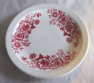 """Homer Laughlin Red Flower Restaurant Salad or Bread Plate 7 1/4"""" Nice Condition"""