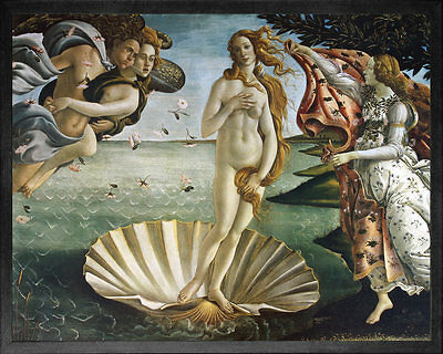 The Birth of VENUS (Primavera) by Sandro Botticelli. Fine Art Poster Black Frame
