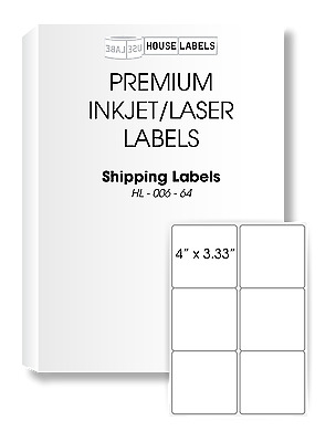 200 Sheets 1200 Labels Fast Peel 6-UP 4 x 3.3 White Shipping Labels [BPA FREE]
