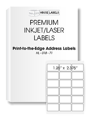 200 Sheets 3600 Labels 1.25 x 2.375 18 UP Fast Peel White File ID Labels