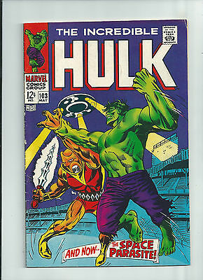 INCREDIBLE HULK #103 Silver Age find from Marvel! Hulk vs Space Parasite!