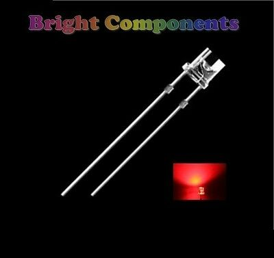 50 x Red LED 3mm Flat Top - Ultra Bright (8000mcd) - UK - 1st CLASS POST