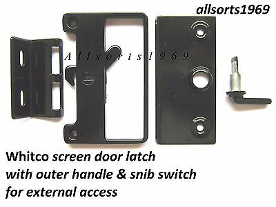 Sliding Screen Door Lock Bass Latch & Catch * With Outer  Handle & Snib Switch*
