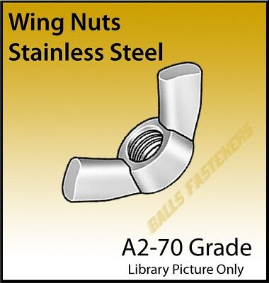 M4 M5 M6 M8 M10 M12 Wingnuts A2 Stainless Steel  Wingnut, Pks of  4, 10, 20 & 50