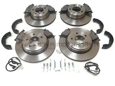 BMW E60 520 525 525d FRONT & REAR BRAKE DISCS & PADS & SENSORS SHOES FITTING KIT