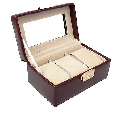 Jewelry Collection Collector Box Storage Case for 3 Watches Leather for Men