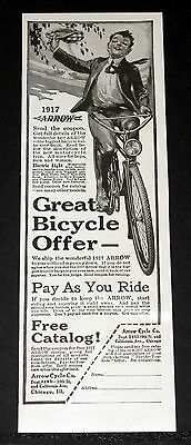 1917 Old Magazine Print Ad, Wonderful Arrow Bicycle, With An Electric Light!
