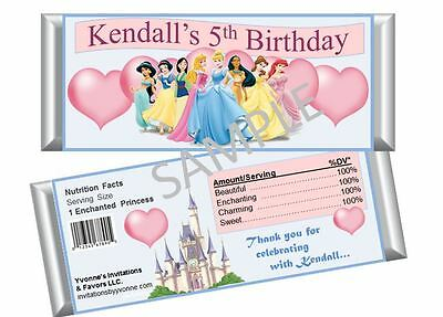 Disney Cinderella Princess Candy Bar Wrappers - Birthday Party Favors /Set of 12