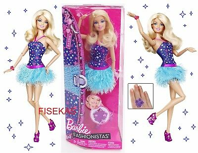 Barbie Fashionistas 2011 Blue Skirt Dress Doll with Mobile App Girl X2273 NEW
